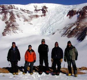 UWM Field Team on the Wahl Glacier, Antarctica. (L to R) Nichole Knepprath, Zelenda Koch, John, Tim Cully (Montaineer,  Jackson, Wyoming), and Pete Flaig