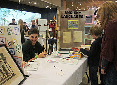 Fair visitors learn ancient languages