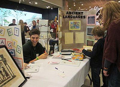 Fair visitors learn ancient languages