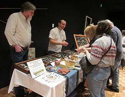 The Wisconsin Archaeology Society demonstrates raw materials used by Native Americans