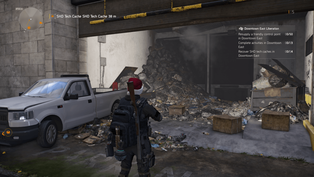 Player avatar standing in an alley way looking at heaps of garbage in a garage.
