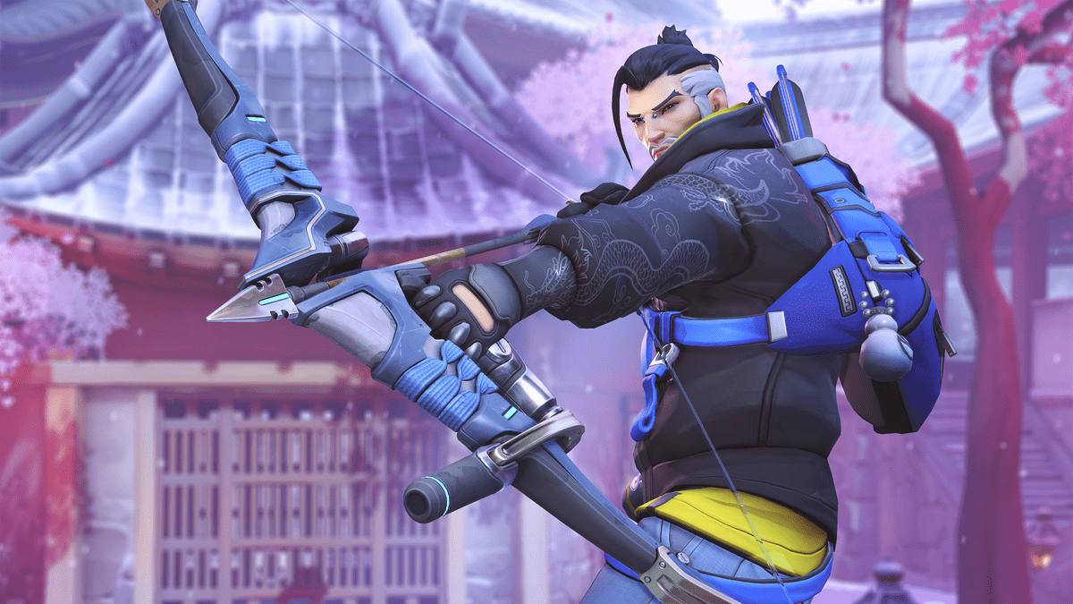 Image of Hanzo, a hero from Blizzard's team-based first-person shooter Overwatch. This character bears a strong resemblance to Sova, a character with similar abilities from Riot Games's Valorant.