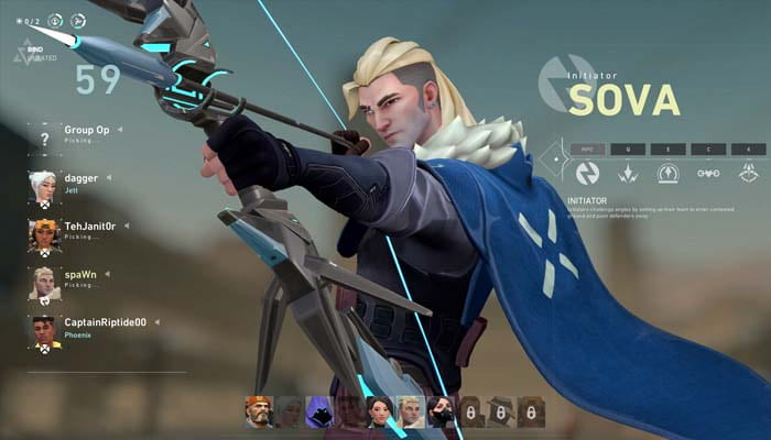 Image of Sova, a character in Riot Games's team-based first-person shooter, Valorant. This character bears a strong resemblance to Hanzo, a character with similar abilities from Blizzard's Overwatch.