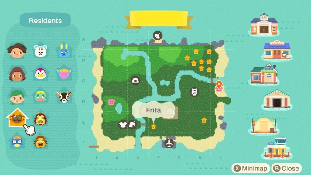 Map of my island. Villagers live in a cluster in the northeast corner of the island, with a handful of houses isolated in other areas. Rivers divide the island, which is mostly extensive woods.