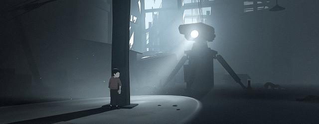 A boy hides behind a pillar from a robot's searchlight