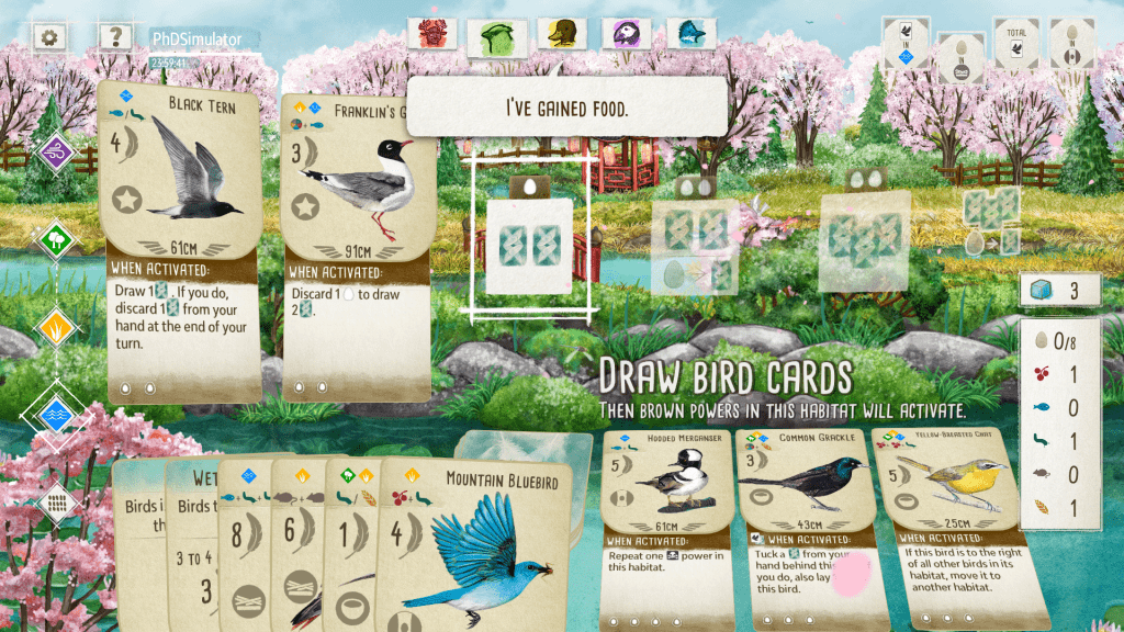 Screenshot of a round in Wingspan. There are two birds played in the habitat, the player has some birds in hand, and the background is of a cherry blossom forest in bloom.