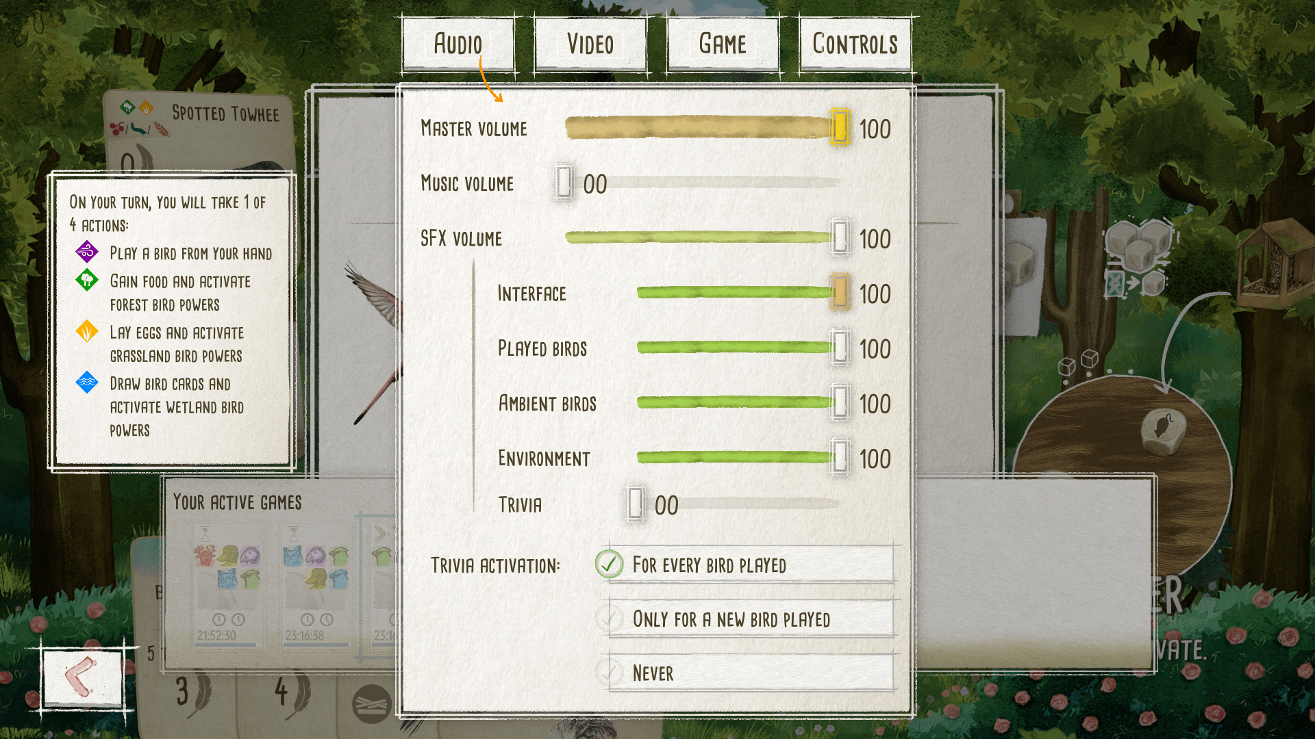 Audio settings menu for Wingspan. Players have control over