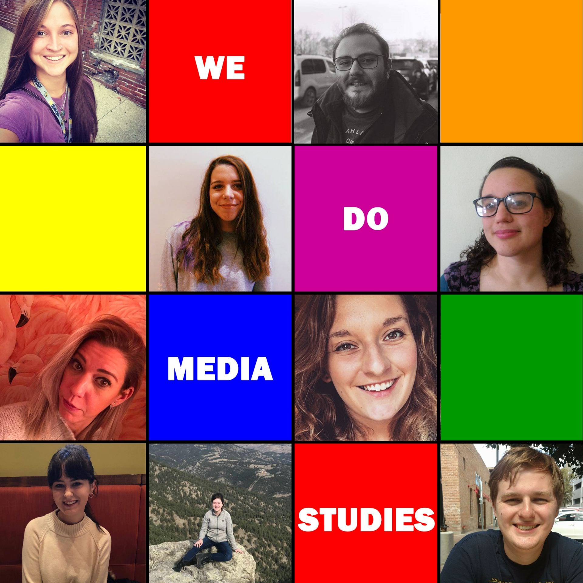 We Do Media Studies logo, featuring pictures of all 9 hosts
