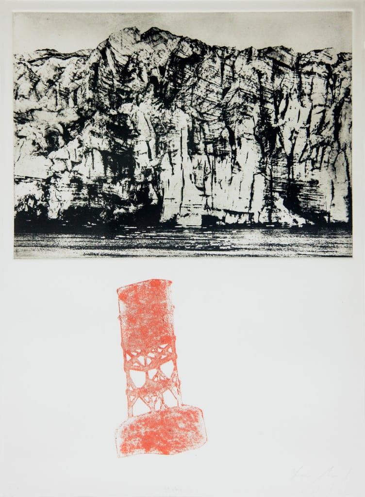 Signal2016, photogravure, monoprint on Pescia, 20 x 15 inches, with Joseph Mougel