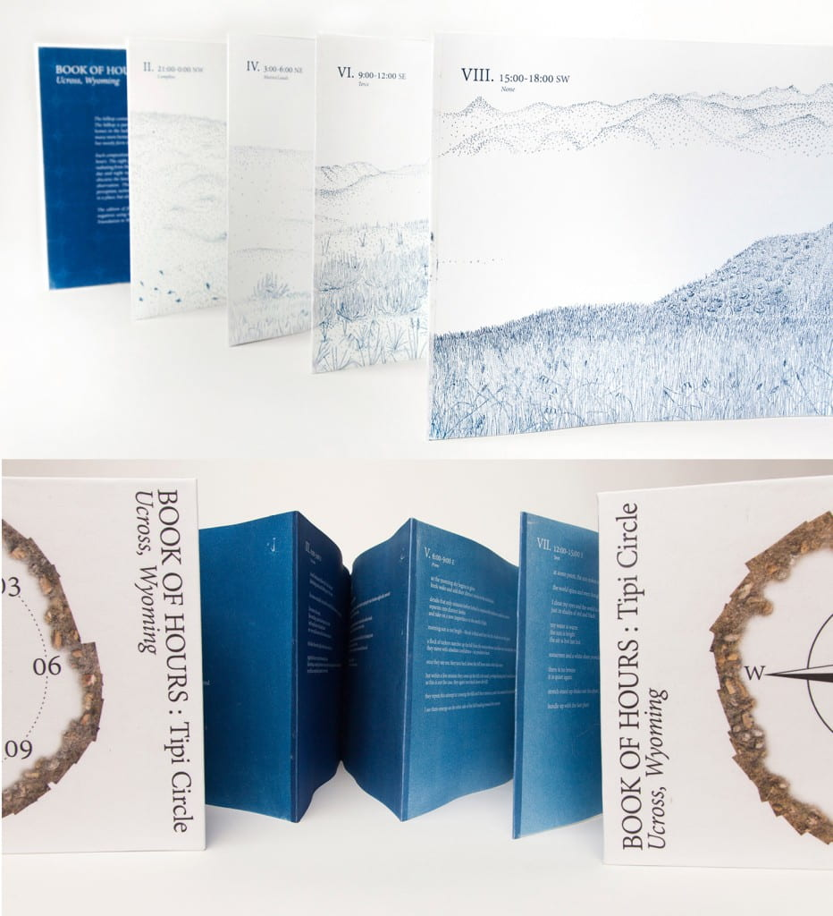 Book of Hours: Tipi Circle2015, cyanotype prints on Incisioni, bound in an 8-page accordion book, digitally printed canvas cover, 11 x 14 inches closed