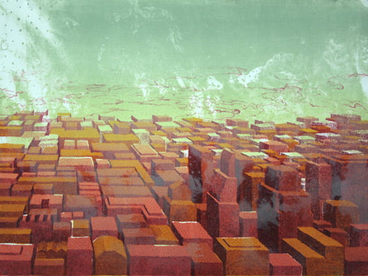Haze Downtown2008, lithograph, 22 x 30 inches