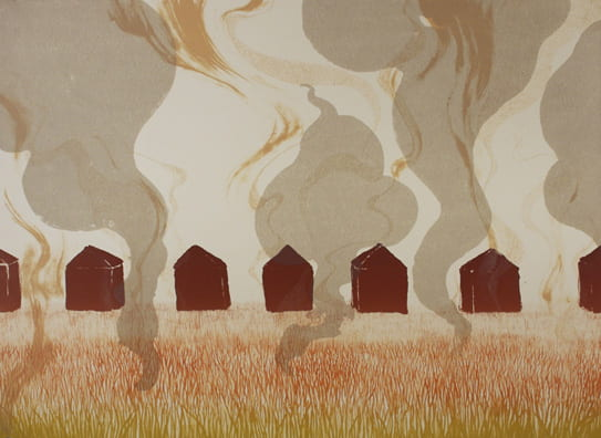 Steaming Lawns2008, lithograph, 22 x 30 inches