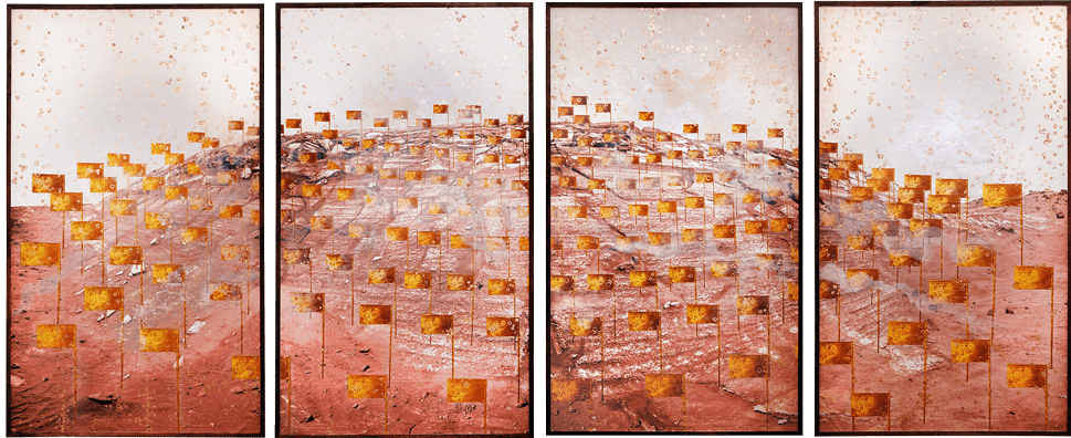 "Big Mountain2010, archival pigment print, screenprint, stencil, copper leaf, four panels, each 72"" x 42"""