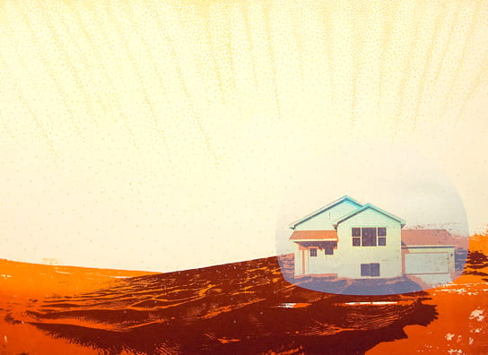 Bubble House2010, screenprint, color pencil, 22 x 30 inches