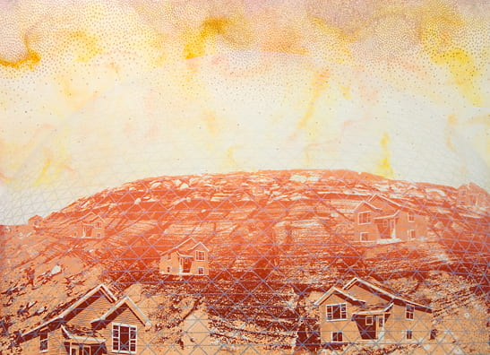 Suburban Dome2010, screenprint, color pencil, 22 x 30 inches