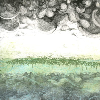 When Duckweed Covers the Earth2005, lithograph, etching, chine collé, 10.9 x 9 inches