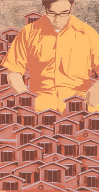 Fort Houses2010, screenprint, copper leaf, 11 x 5.5 inches