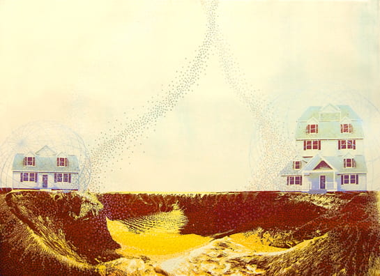 Crater Neighbors2010, screenprint, color pencil, 22 x 30 inches