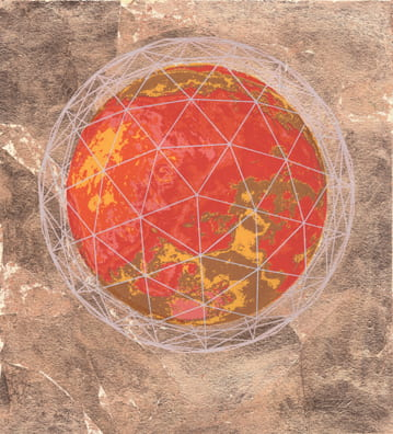 Planet Mars2010, screenprint, copper leaf, 11 x 10 inches