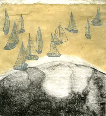 Migration of the Speckled Blue Sailboats2005, lithograph, etching, chine collé, 8 x 7.5 inches