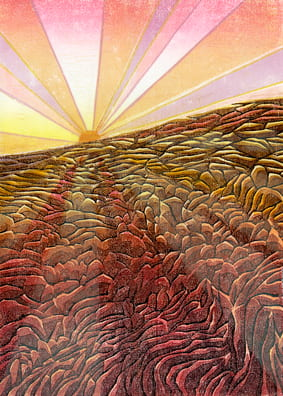 Red Light at the Edge of the Caldera2011, woodcut, 22 x 15 inches