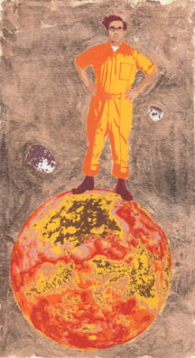 Super Mars2010, screenprint, copper leaf, 11 x 5.5 inches