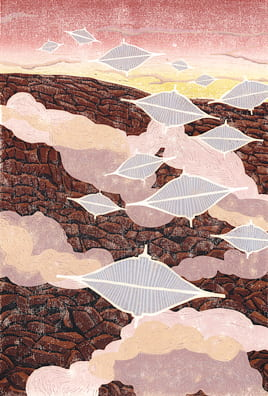 Traffic over Tharsis2011, woodcut, 22 x 15 inches