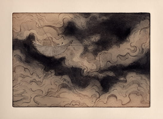Clouds2012, etching, aquatint, drypoint, 6 x 9 inches