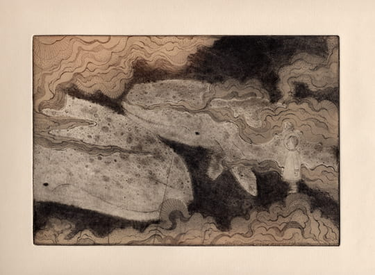 Whales2012, etching, aquatint, drypoint, 6 x 9 inches