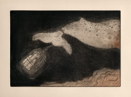 Pet2012, etching, aquatint, drypoint, 6 x 9 inches
