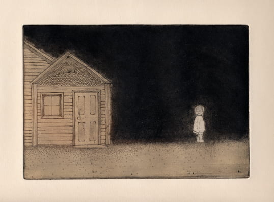 Outside2012, etching, aquatint, drypoint, 6 x 9 inches