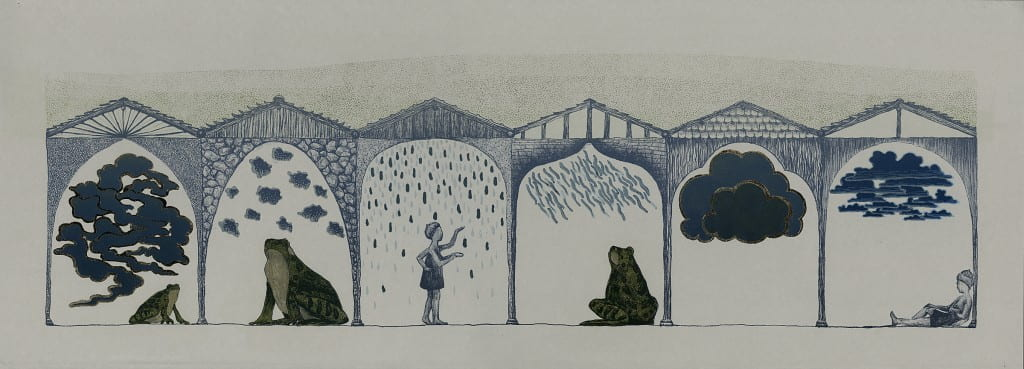 Watersheds2014, lithograph, foil, 11 x 30 inches