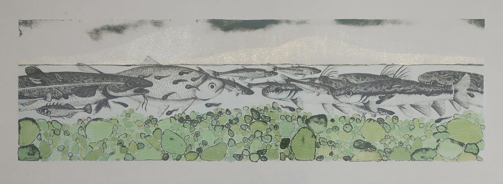 Swim2014, lithograph, foil, 11 x 30 inches