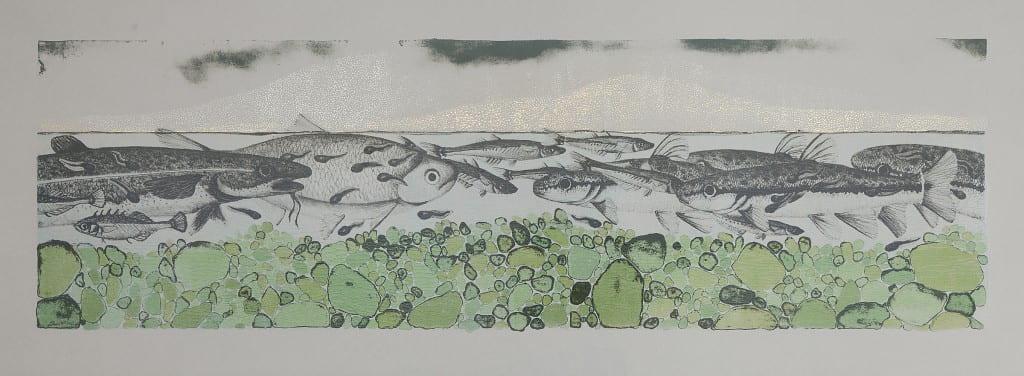 Swim2014, lithograph, foil, 11 x 30 inches