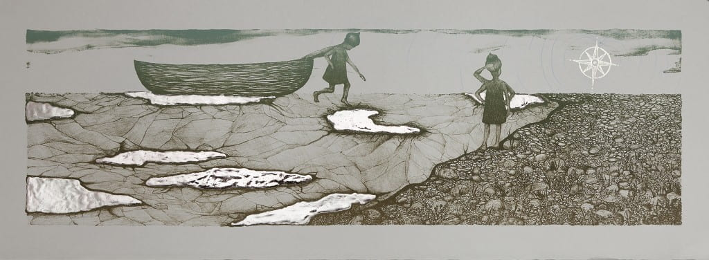 Overland2014, lithograph, foil, 11 x 30 inches