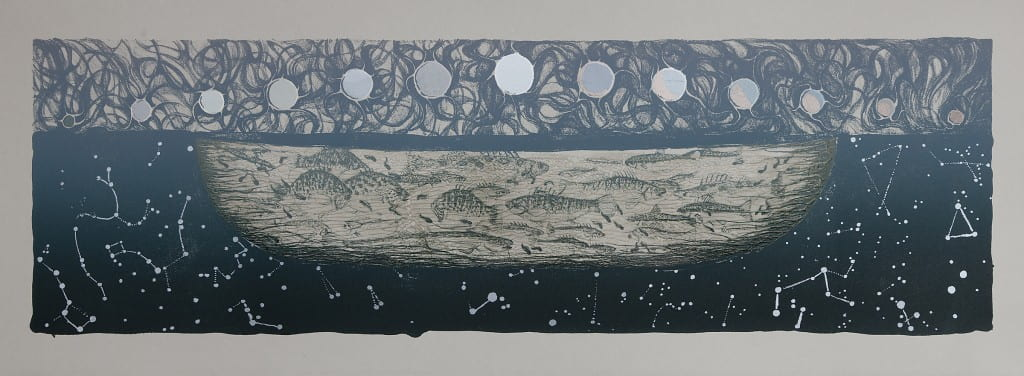 Underworld2014, lithograph, foil, 11 x 30 inches