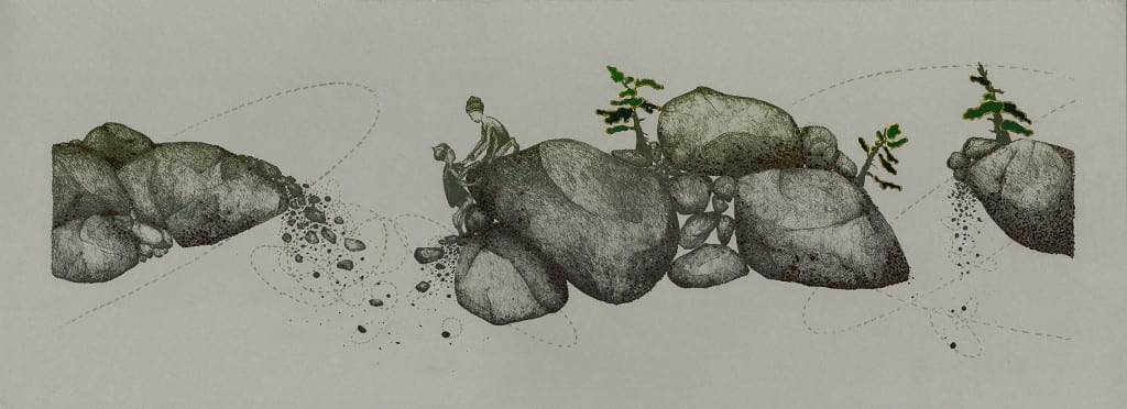 Boulders2014, lithograph, foil, 11 x 30 inches