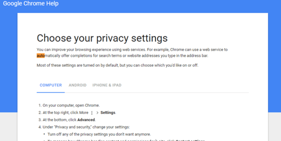 Step-by-step instructions for changing auto-completion settings in Chrome