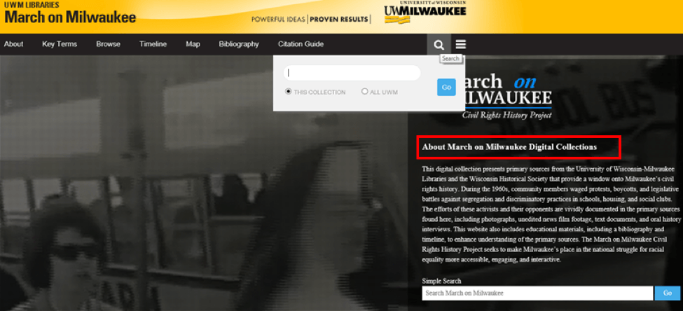 "March on Milwaukee page with a section title reading ""About March on Milwaukee Digital Collections"" directly before the content"