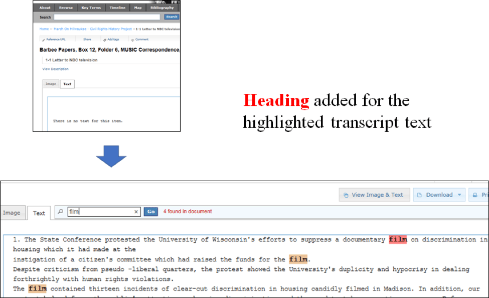 """Heading added for the highlighted transcript text. The search term """"film"""" is highlighted every time it appears in the text."""