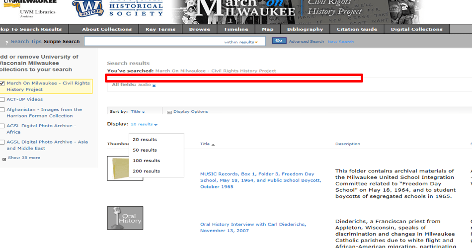 "March on Milwaukee search results page with emphasis box around invisible text ""The search results section consists of three areas: sorting options, display options, and a list of search results""."