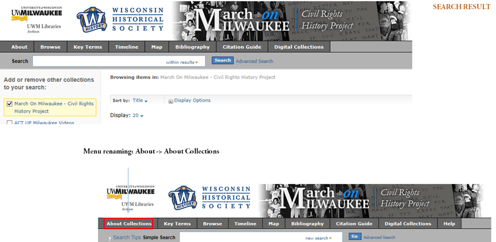 Two versions of March on Milwaukee interface. Second demonstrates renaming About menu item to About Collection for added specificity