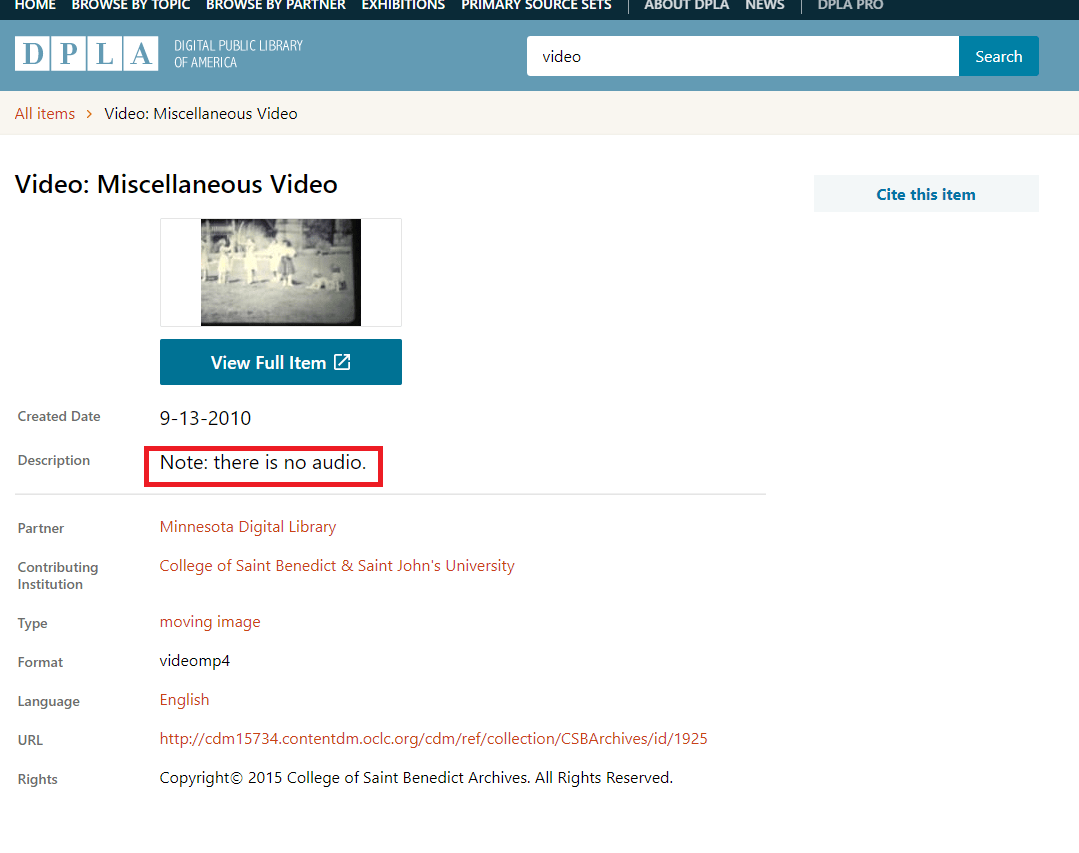 "Interface for video item with emphasis added to Description field which reads ""Note: there is no audio."""