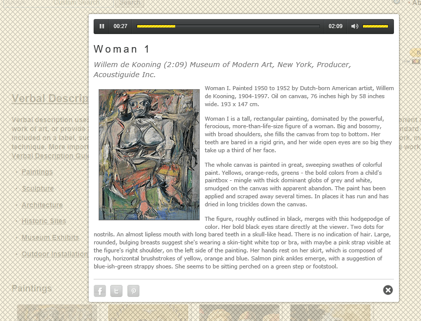 """Display page for """"Woman 1"""" painting which includes a physical description of the painting and a transcript of the audio"""