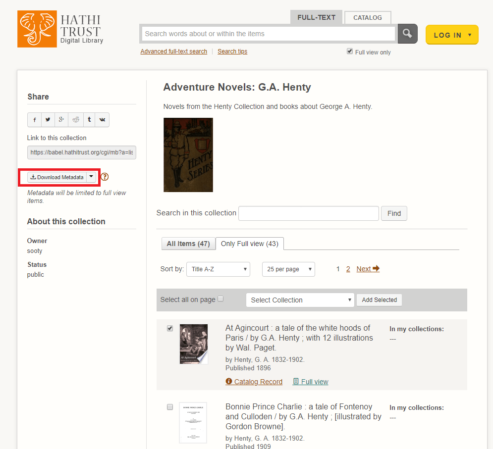Example from Hathi Trust Digital Library with clear Download Metadata button available for item