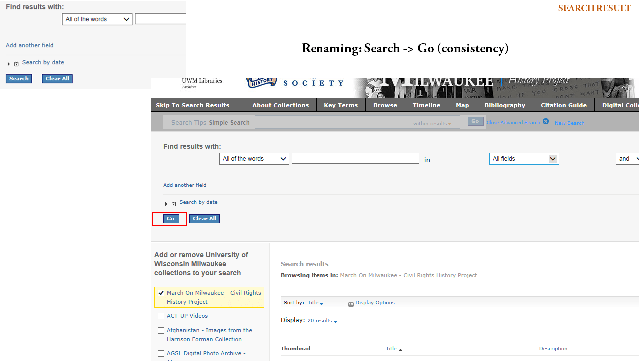 March on Milwaukee page with Search button renamed Go for consistency