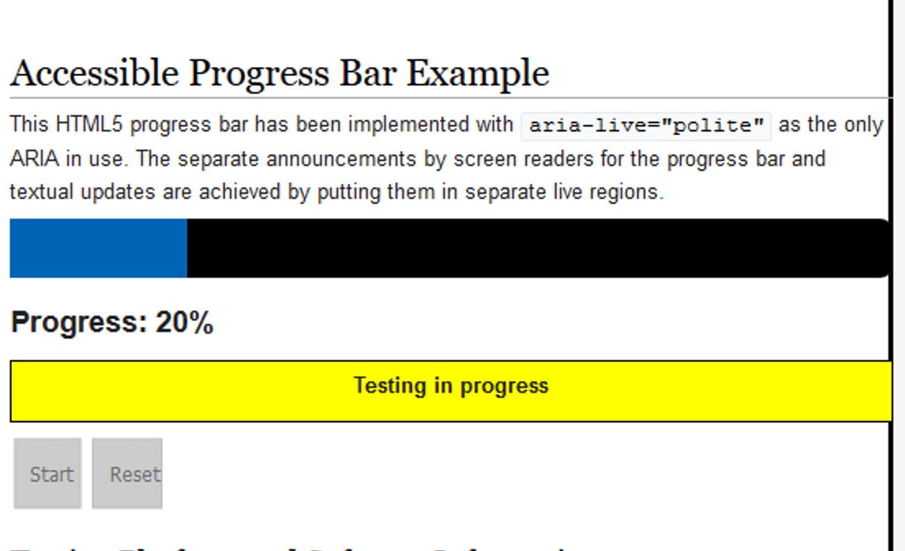"Accessible Progress Bar example which reads ""This HTML5 progress bar has been implemented with aria-live= ""polite"" as the only ARIA in us. The separate announcements by screen readers for the progress bar and textual updates are achieved by putting them in separate live regions."""