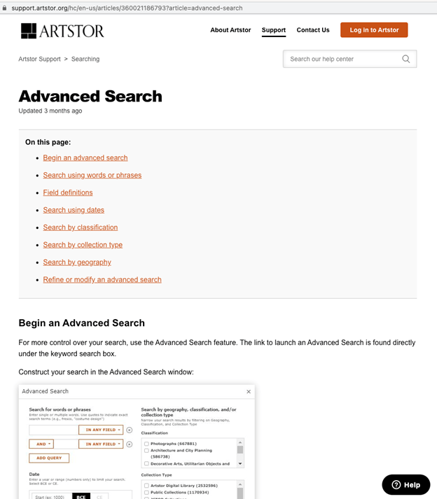 Advanced Search help interface under Artstor Support and Searching which provides instructions for how to conduct an advanced search
