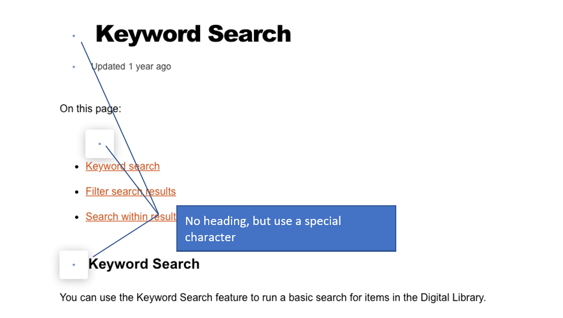 """Keyword Search interface with no heading elements applied with added message """"No heading, but use a special character"""""""