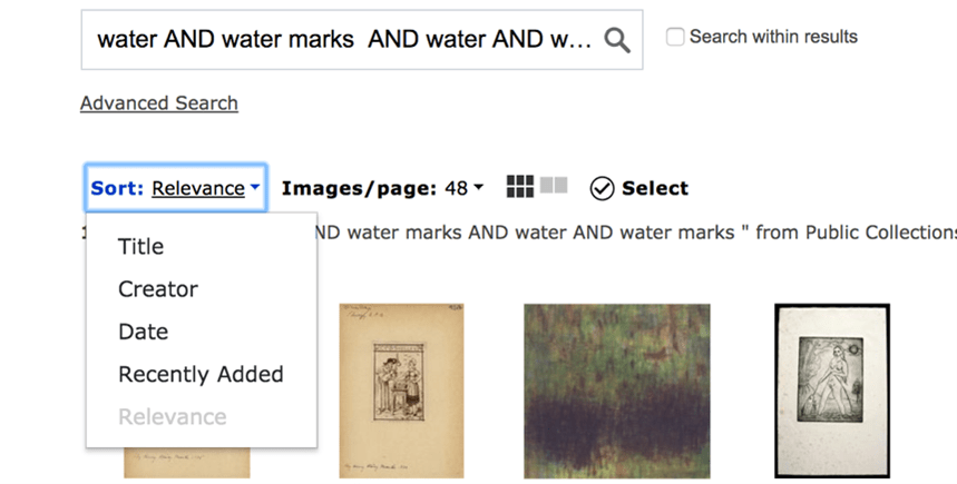 ArtStor search interface with sorting and filtering options including sorting by Title, Creator, Date, Recently Added, and Relevance